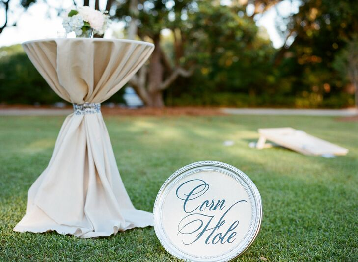 Corn hole and other lawn games were available for guests to play during cocktail hour.