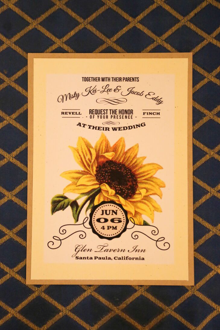 Misty's love for sunflowers showed through the yellow and white wedding invitations with a large sunflower design in the middle.