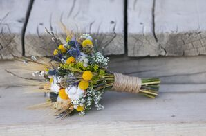 Cotton and Blue Thistle Bridal Bouquet