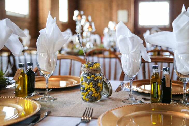 Each table had a mason jar filled with yellow and gray M&M's, matching the color palette of the wedding.