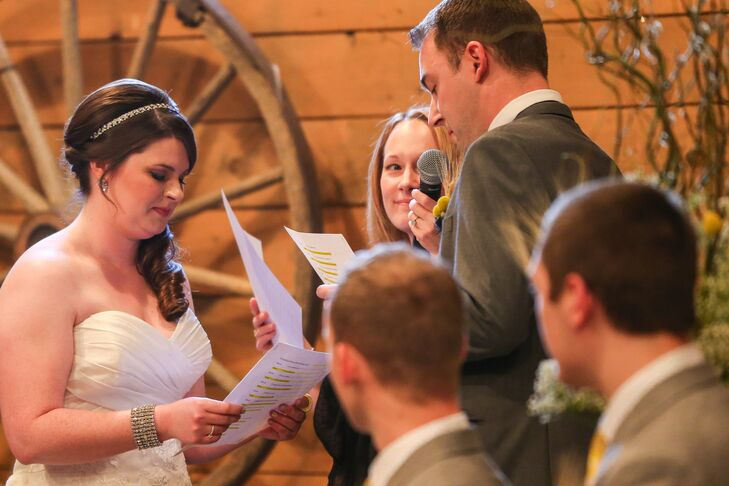 The couple hand wrote their own vows for their intimate, romantic ceremony.