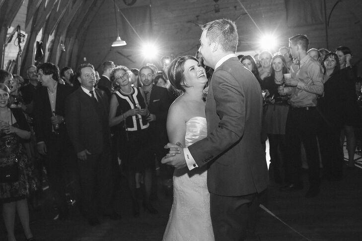 The couple shared their first dance in the barn surrounded by family and friends.