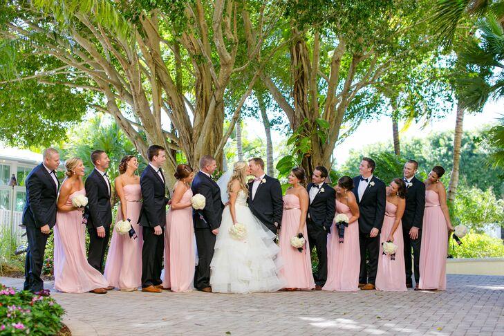 Donna Morgan Long Light Pink Bridesmaid Dresses