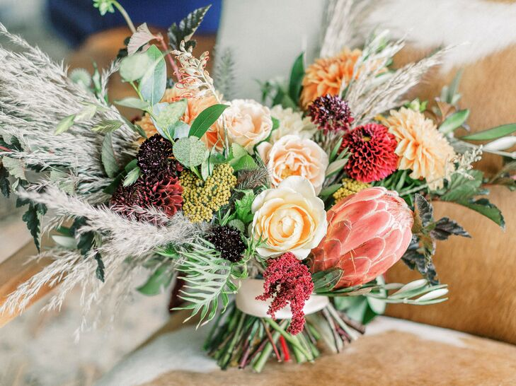 Bouquet with Protea, Astilbe and Dried Yarrow