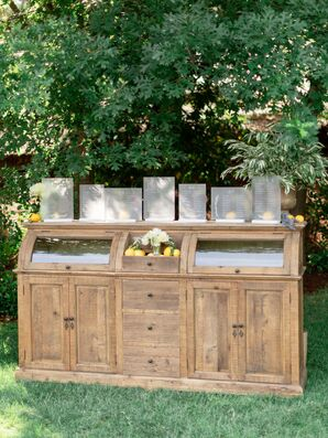 Natural Backyard Seating Chart on Wood Dresser