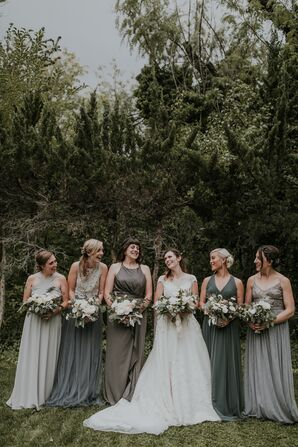 Mismatched Gray Bridesmaid Dresses