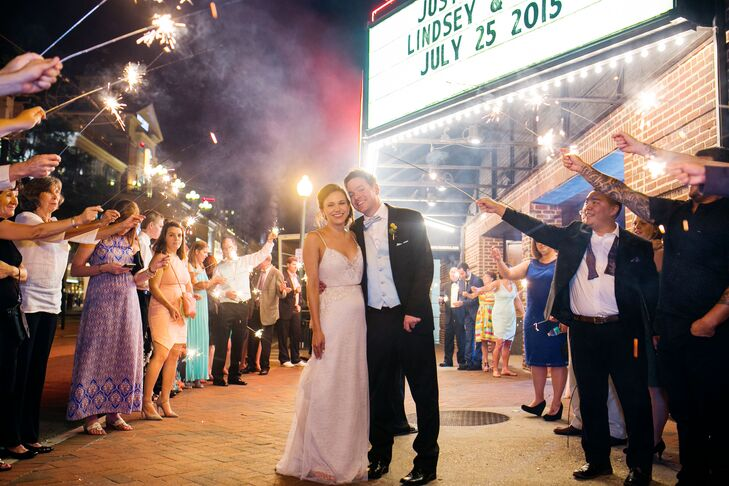 """""""We had a sparkler exit under NorVa's famous marquee, which read """"Just Married/Lindsey & Chris/July 25, 2015,"""" Lindsey says. """"Then we walked to the after-party at a 1920s-themed piano bar around the corner."""""""