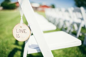 """Love Is"" Wooden Chair Detail"