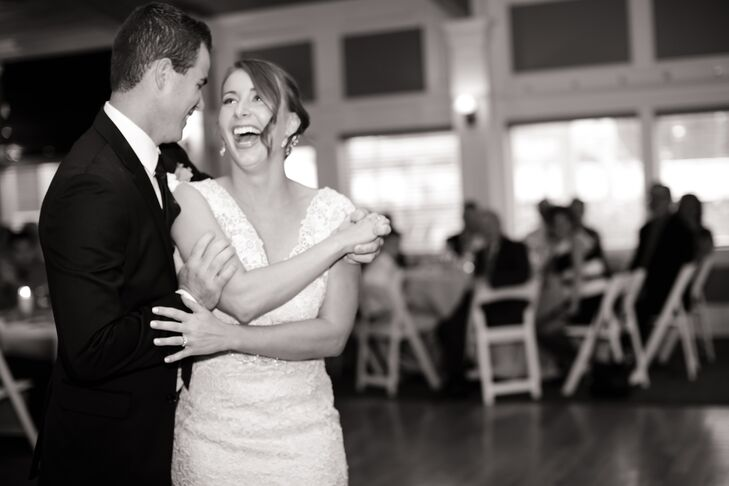 """Once guests finished their meals, Lynn and Joe took to the dance floor. """"We chose t dance to 'Life is Better with You' by Michael Franti,"""" says Lynn. """"It's a fun song with a great feeling and message. We danced along for a bit and then our bridal party joined us."""" In addition to dancing, the couple set up a photo booth for their friends and families to enjoy, as well as a fire pit where guests could make s'mores."""