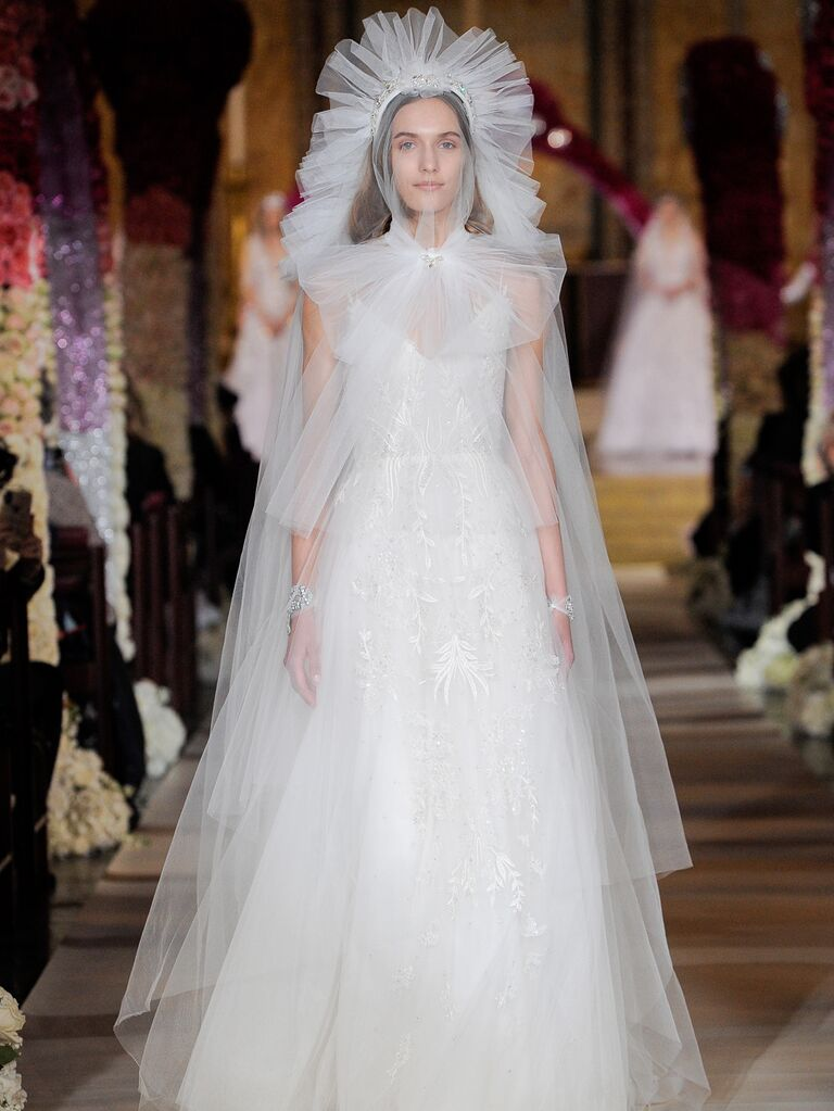Reem Acra Spring 2020 Bridal Collection wedding dress with structural tulle veil