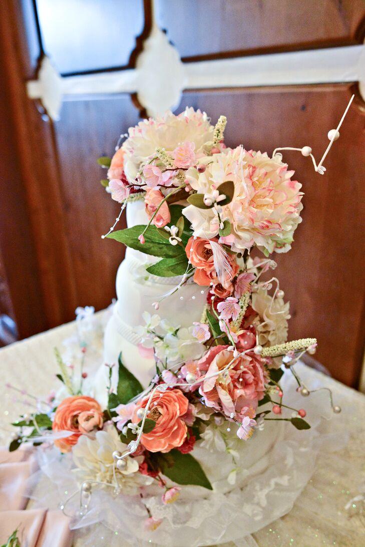 Pink Flower Garland Decorated Cake