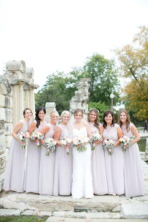 Jim Hjelm Illusion Neckline Champagne Bridesmaid Dresses