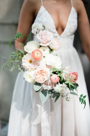 Loose, Romantic Bouquet of Pastel Ranunculus, Peonies, Roses and Greenery