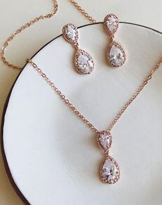 Dareth Colburn Georgia CZ Pendant Jewelry Set (JS-1674) Wedding Necklace photo