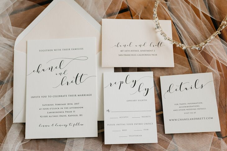 Chanel and Brett's classically inspired invitation suite centered on elegant calligraphy.