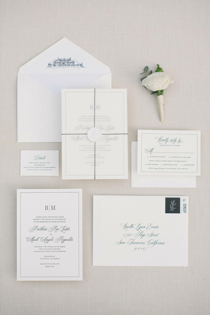 Formal White Wedding Invitation for Napa Valley Wedding