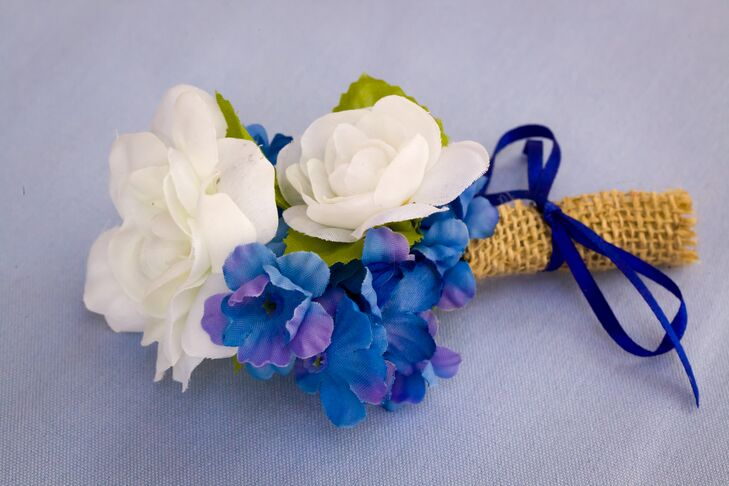 Blue and White Fabric Flower Boutonniere