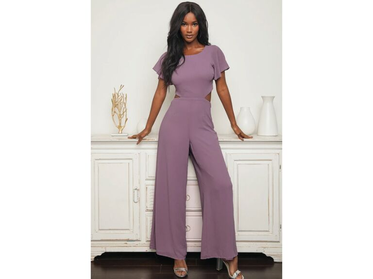 Purple jumpsuit with side cutouts