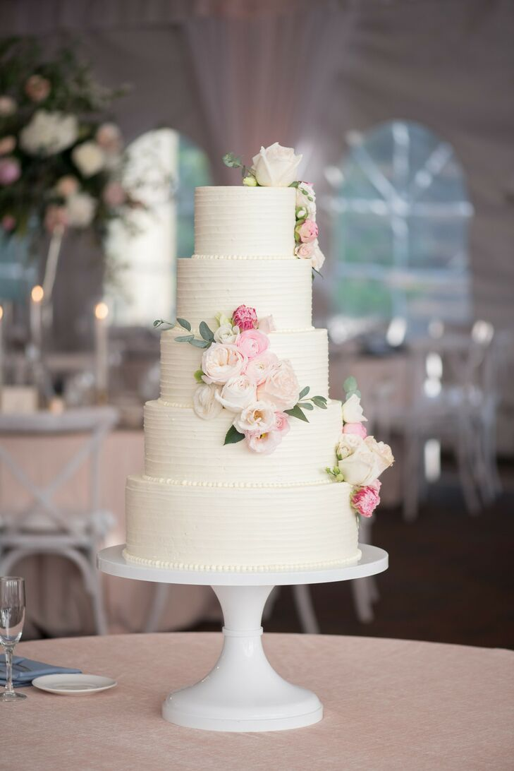 Five-Tier Combed Buttercream Cake with Romantic Pink Blooms