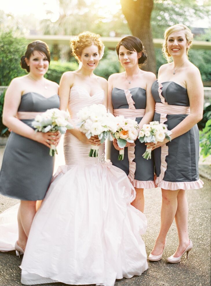 Pink-Trimmed, Gray Bridesmaid Dresses