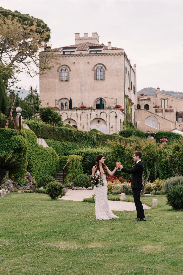 Glamorous and Romantic Couple Toasting in Italian Garden