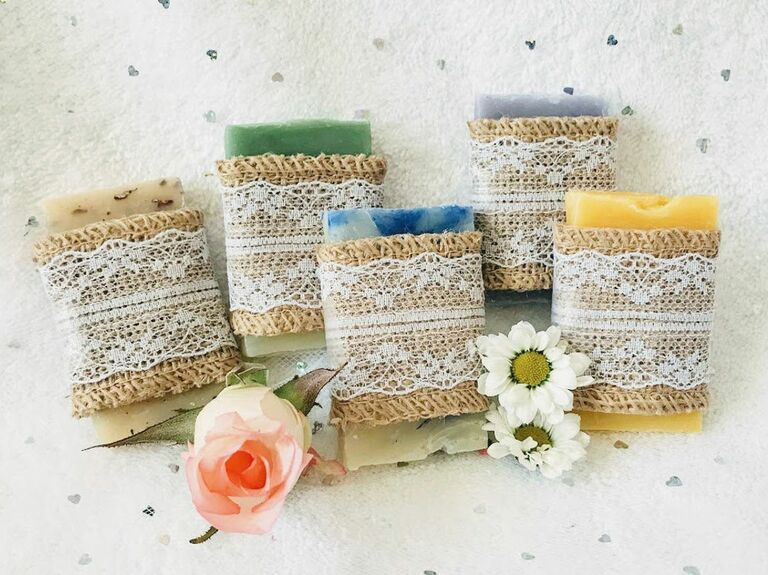 burlap and lace wrapped soap rustic favor