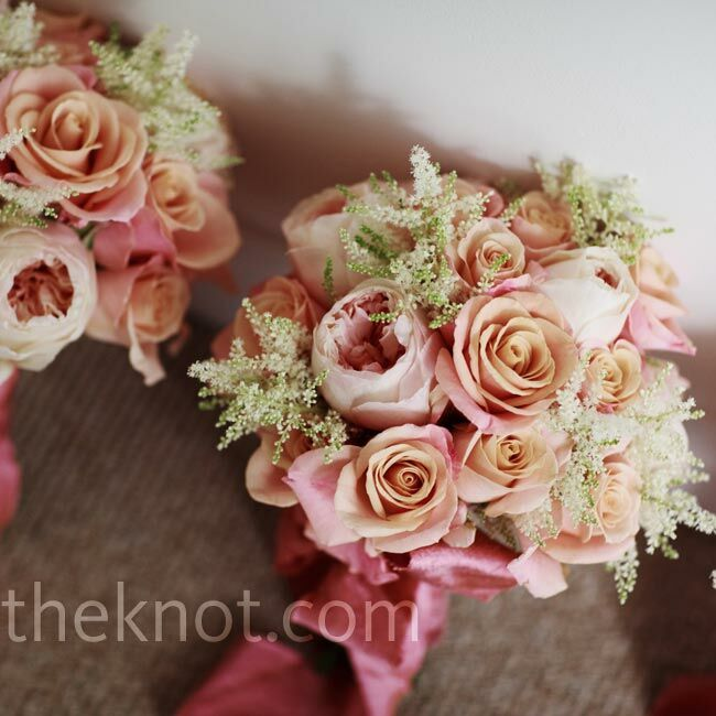 The bridesmaids' bouquets were small versions of Sami's rose one, with some lime green springs added in.