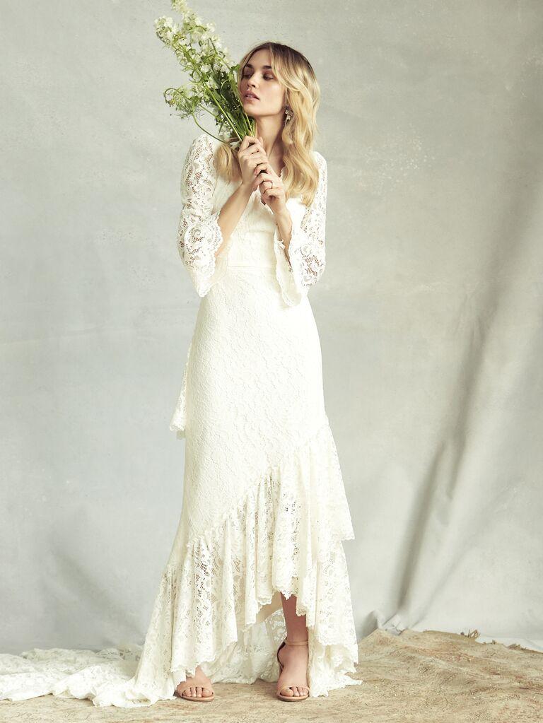 Savannah Miller Spring 2020 Bridal Collection lace bohemian wedding dress with high-low hem