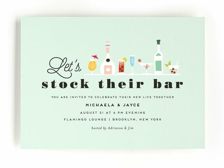 Colorful stock the bar engagement party invitation