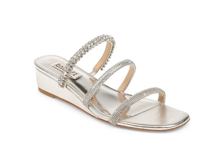 Badgley Mischka Zofia strappy wedge slide sandal in Silver Nappa Leather