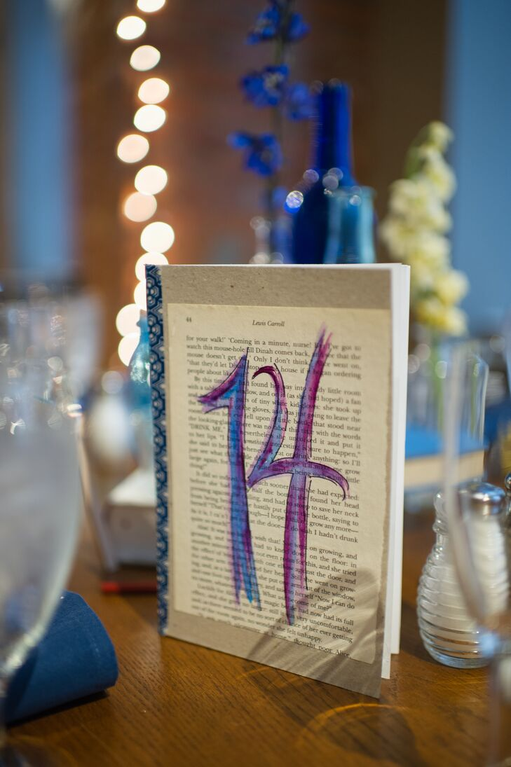 The book-inspired table numbers on each table also doubled as the couple's guest book.