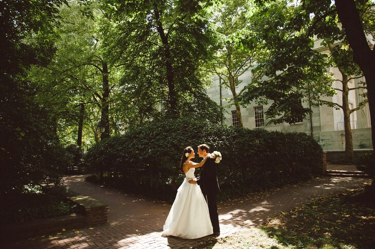 The Bride and Groom in a City Park
