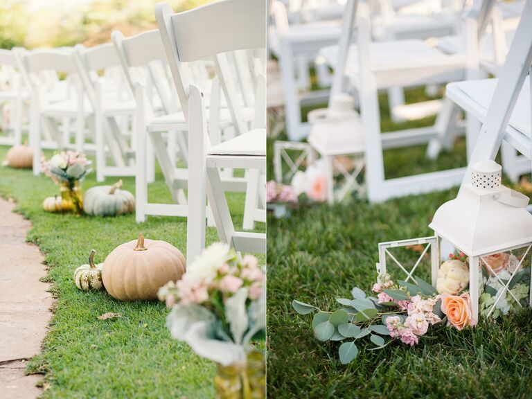 White pumpkin aisle decor