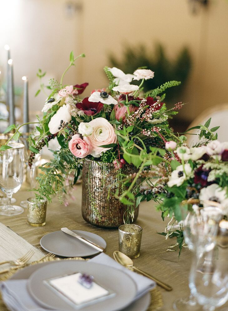 Low Centerpieces in Mercury Glass Vessels