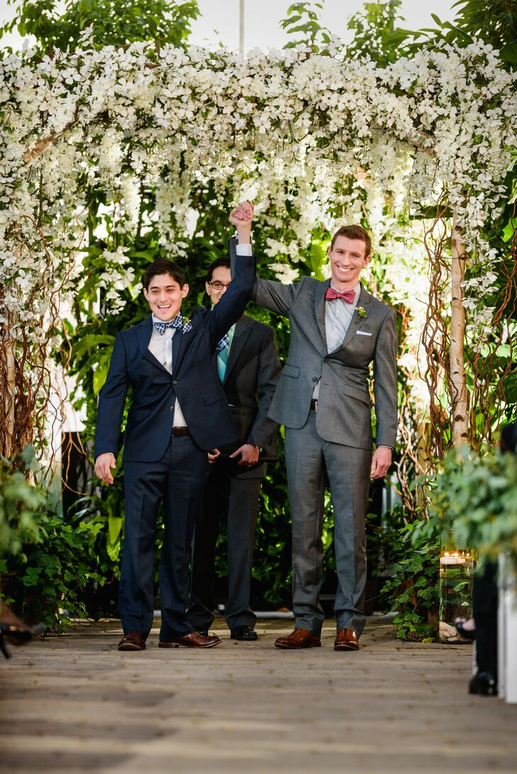 A sophisticated color palette of navy, silver and sage kept their wedding simple and chic without detracting from Brian Vargo (33 and an engineer) and