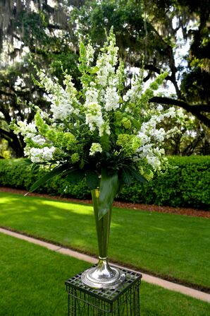 White Stock and Bells of Ireland Tall Aisle Arrangement