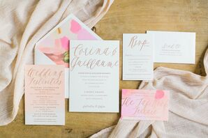 Invitation with Pink Watercolor and Rose Gold Script