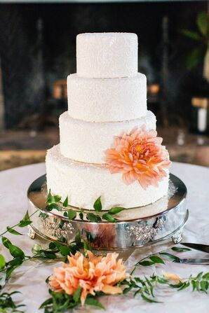 Lace and Dahlia Adorned Wedding Cake