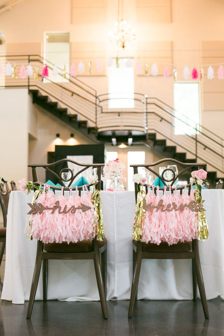Pink and Gold Bride and Groom Chair Decor