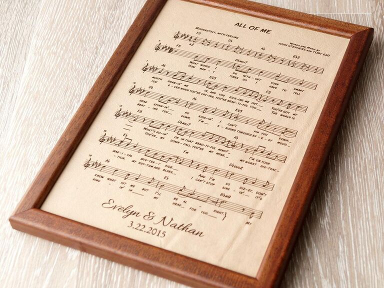 Leather sheet music of song All of Me in wooden frame