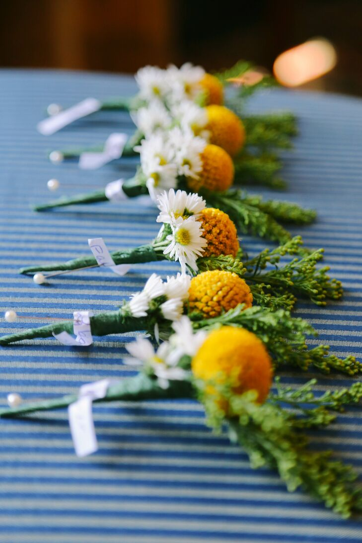 Yellow Brunia and Daisy Boutonnieres