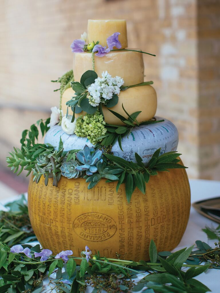 Cheese wheel wedding cake 2019 trend