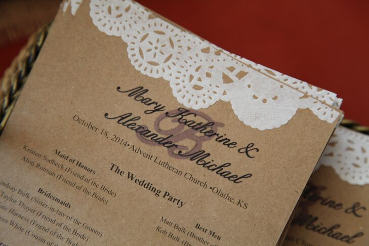 Fitting the wedding's rustic theme, the ceremony programs were made using kraft paper and lace-inspired detailing.