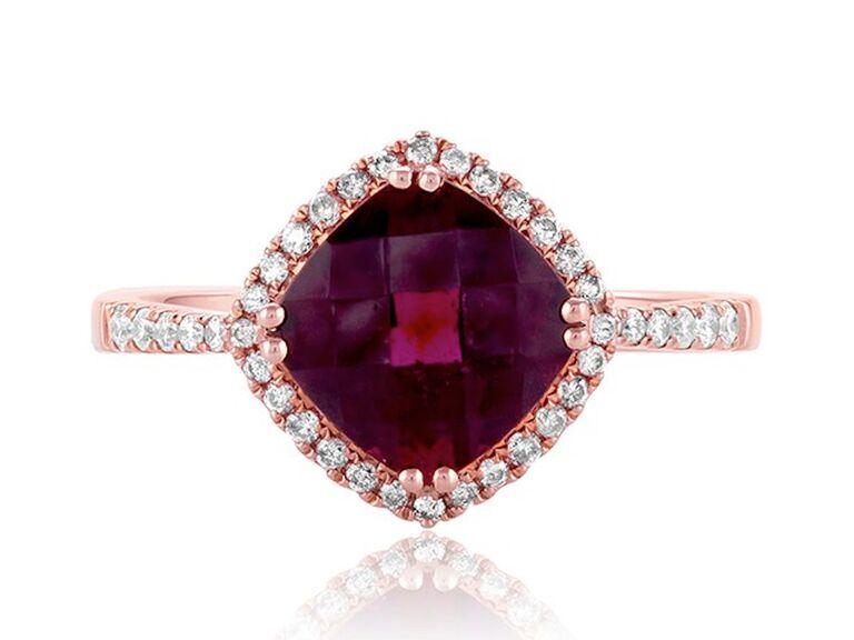 Effy garnet and diamond engagement ring
