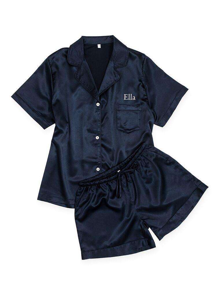 Navy satin personalized bridesmaid pajamas