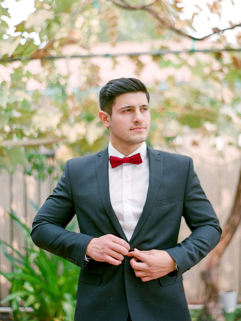 Groom in Red Bowtie