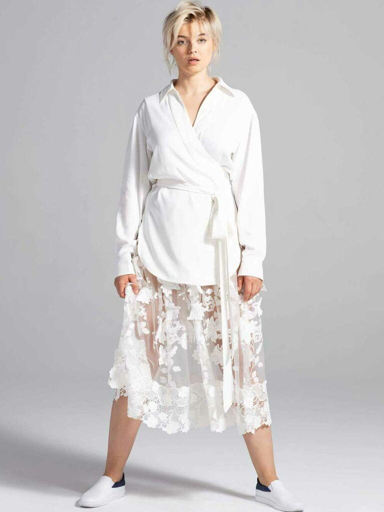 White wrap wedding jacket