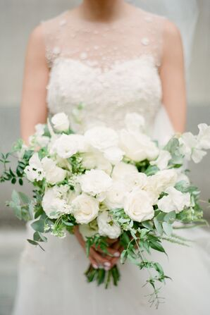 Classic White Bouquet with Roses, Ranunculus and Sweet Peas