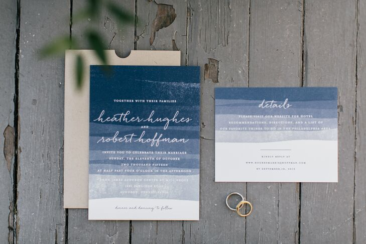 Drawing inspiration from John James Audubon's early watercolor work, Heather and Robert's invitations featured delicate navy watercolor.