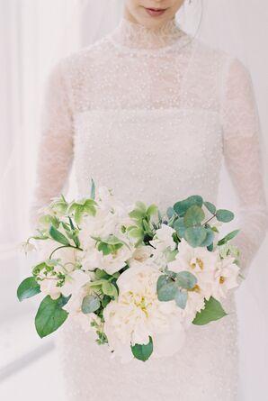 Ivory Sweet Pea, Peony and Eucalyptus Bouquet